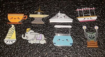 Disney Pins Mystery Pins Kingdom Of Cute Attractions Complete Set Of 8