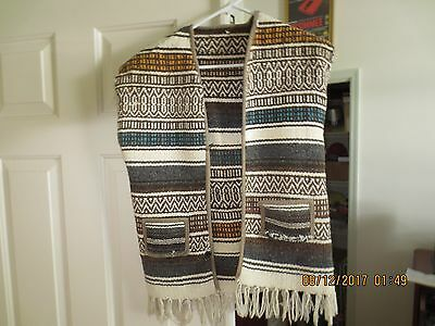 Vintage 60s Authentic Mexican Indian Blanket Rug Vest Poncho