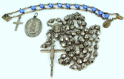 Nice Lot of Religious Items Glass Rosary Bracelet, Rosary and St.Joseph Medal NR