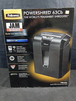 Fellowes Powershred 63Cb Cross-Cut Shredder w/ SafeSense Technology NEW