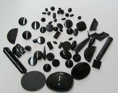 Lot Black Stones from Jewelry Cabochons Marquis Teardrops Odds & Ends