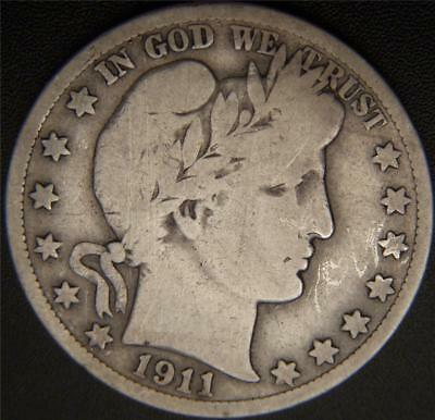 1911-S Barber Half Dollar - Some Lettering of LIBERTY Still Shows - See Pictures