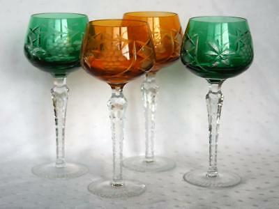 "Set Of 4 Cut To Clear Crystal Czech Bohemian 8"" Wine Hocks"