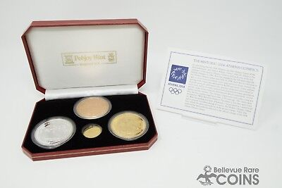 4 Coin Set of 2004 Athens Olympics Bronze, .925 Silver and .999 Gold - Only 500!