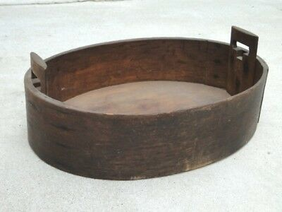 "Rare Antique 1800s Oval Fancy Handled Wood 26"" x 19"" Country GATHERING BOX"