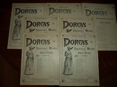 Antique Dorcas Illustrated Weekly Magazines set of 7 Issues Dated 1889-1890