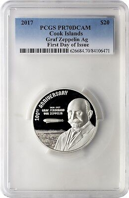 2017 $20 Cook Islands Graf Zeppelin .999 Silver Coin PCGS PR70DCAM First Day