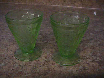 Depression Glass Cherry Blossom Two Green Sherbets or Tumblers