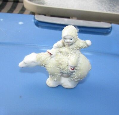 """Antique Snow Baby On Polar Bear Bisque Doll Miniature Hand Painted Hertwig 2.75"""""""
