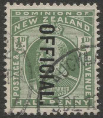 """New Zealand NZ 1/2d Green KEVII with fake inverted """"OFFICIAL"""" overprint"""
