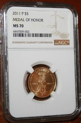 USA 2011P NGC Gold $5.00 Graded MS70 Medal of Honor Perfect Gem Coin $$$