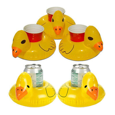 Inflatable Floating Swimming Pool Bath Beach Duck Drink Cup Can Holder Well