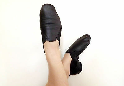 Jazz Shoes Black Leather Split Sole Kids 9,10,1,2 & Adults 11.5 & 12