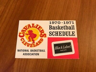 Rare 1970-71 1St Year Cleveland Cavaliers Pocket Schedule Black Label Beer