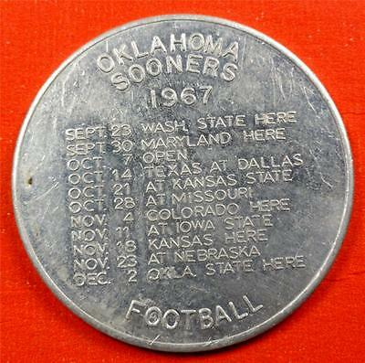 OKLAHOMA UNIV SOONERS 1967 FOOTBALL SCHEDULE Medal-Token HAL MULDROW ME8171