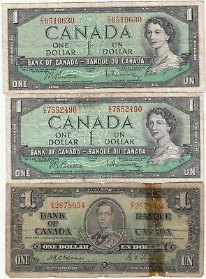 3 old Canada $1 notes