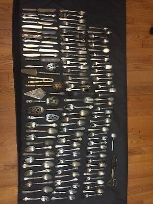 11.4 lb. 106 Piece Lot Of Vintage Antique Flatware Mixed Lot Of Spoons & Forks