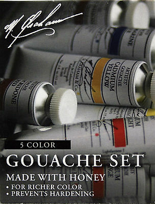 M. Graham Gouache Set Five Colors .5 oz. Tubes