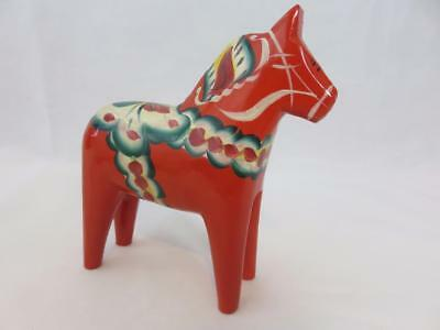 Nils Olsson Sweden Hand Painted Wooden Horse Figurine Swedish 6.25""