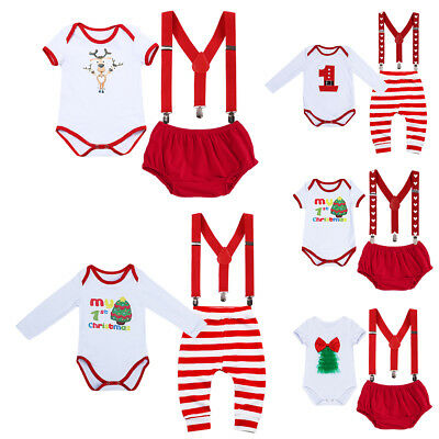 Christmas Newborn Baby Boy Girl Romper + Suspender + Pants 3PCS Outfits Clothes