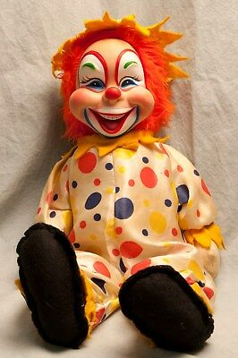 "Vintage Clown Doll Creepy Smiling Happy 18"" Cloth Plastic"