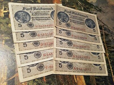 OLD NAZI GERMANY RARE BANKNOTES - 11pc LOT - Vintage WWII Money Collection!!!