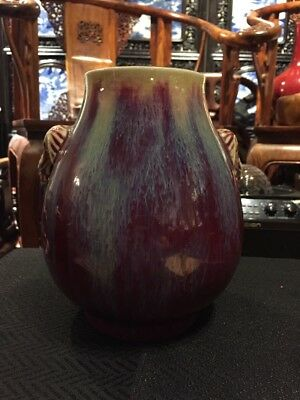 Antique Chinese Old Qianlong Ox Blood Porcelain Vase Asian China Ming Qing