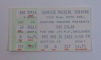 Bob Dylan Ticket Stub - Sunrise Musical Theatre 1981 Live Concert Collectible