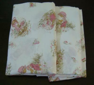 Set of Vintage Children's sheets ,Holly Hobbie style , pink, 2 flat sheets, #1