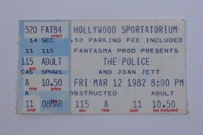 The Police & Joan Jett Ticket Stub - Hollywood 1981 Live Concert Collectible