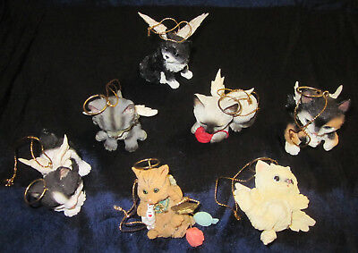 7 angel CAT Christmas ornaments with halos and wings