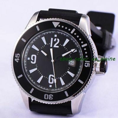 43mm Sterile Dial Sub Style Mens Automatic Watches Ceramic Bezel Rubber Band 02