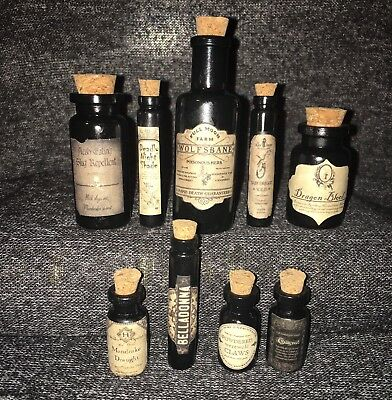 LABELS ONLY Halloween Small Apothecary Potion Bottles Harry Potter Dark Arts