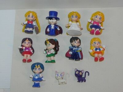 Vintage Sailor Moon Lot of 9 PVC Figures + 2 Cats