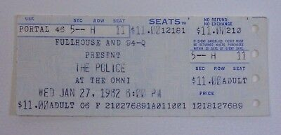 The Police at The Omni Ticket Stub - 1982 RARE Ghost in the Machine Tour Ticket