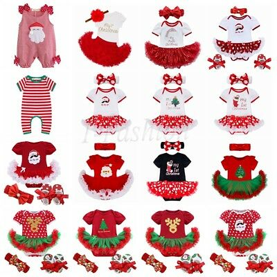 My First Christmas Tree Santa Jumpsuit Girls Tutu Outfit Baby Dress Clothes Sets