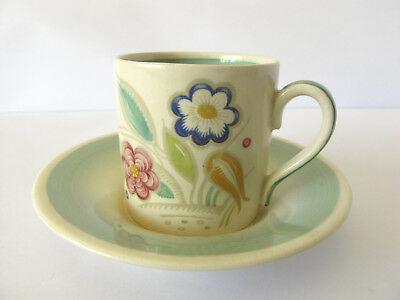 """Vintage Susie Cooper """"Nosegay"""" Coffee Can and Saucer.  c.1938 - Excellent cond."""