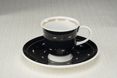 """Vintage 1950's Susie Cooper """"Quail"""" shape Cup and Saucer - Black - Exc Cond"""