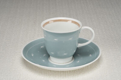 """Vintage 1950's Susie Cooper """"Quail"""" shape Cup and Saucer - Pale Blue - Exc Cond"""