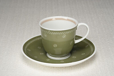 """Vintage 1950's Susie Cooper """"Quail"""" shape Cup and Saucer - Spot & Ring pattern"""