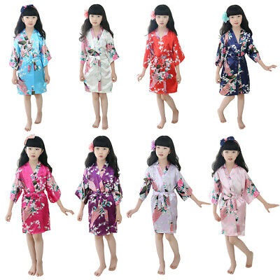 Kids Girls Bath Robe Silk Robe Satin Robe Dreessing Gown Sleepwear Pajamas Sweet