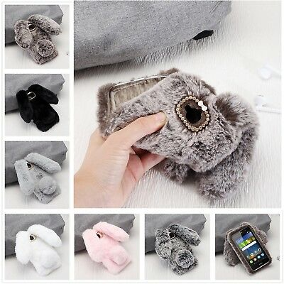 Warm Soft TPU Rabbit Fluffy Fur Crystal Case Cover For Various Huawei Smartphone
