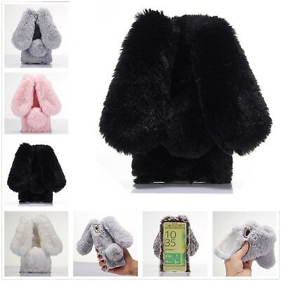 Rabbit Fur Fluffy Soft Diamond Warm Winter Phone Case Cover Skin For Sony Xperia