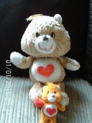 1980's Tender Heart Care Bear Soft Toy And Small Tenderheart