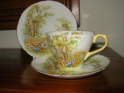 "Shelley - ""Daffodil Time"" - Teacup Trio - Pale Yellow Trim."
