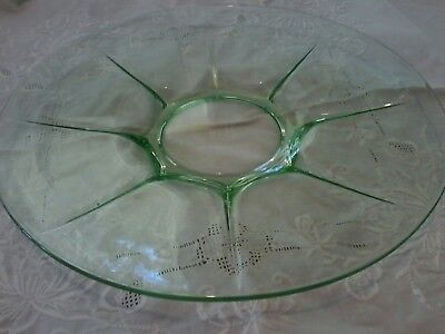 Green Glass Platter-Art Deco-Vintage-Collectors
