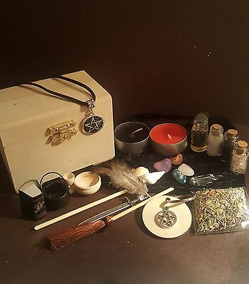 Authentic mini altar kit, travel chest crystal ball, besom, cauldron pagan wicca