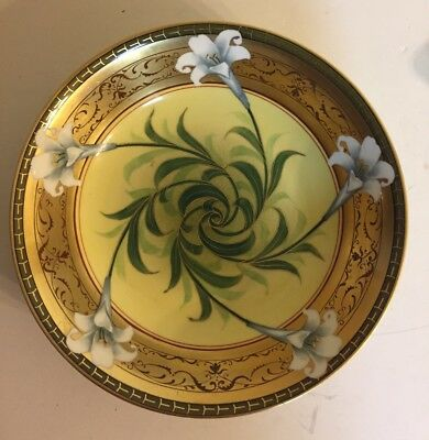 """Antique Hand Painted 10"""" Bowl W A Pickard White Lily Signed French Limoges"""