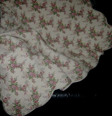 Vintage Quilted Shabby Chic Blanket/throw~Pink~100% Cotton~155Cm X 155Cm