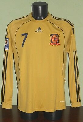 Maglia DAVID VILLA #7 Spagna MATCH WORN / ISSUED Qual. World Cup 2010 away shirt